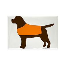 Chocolate Lab - Orange Vest Rectangle Magnet