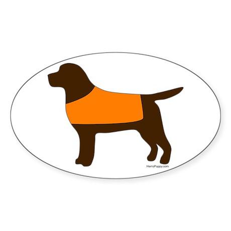 Chocolate Lab - Orange Vest Sticker (Oval)