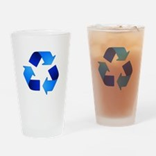 Blue Recycling Symbol Drinking Glass