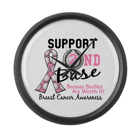 Second 2nd Base Breast Cancer Large Wall Clock