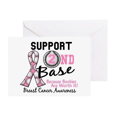 Second 2nd Base Breast Cancer Greeting Card