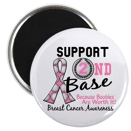 "Second 2nd Base Breast Cancer 2.25"" Magnet (100 pa"