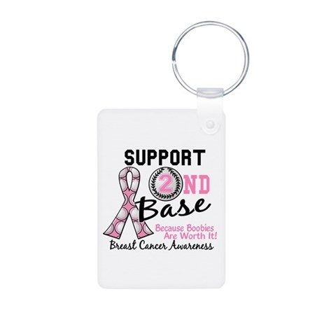 Second 2nd Base Breast Cancer Aluminum Photo Keych