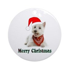 Westie Merry Christmas Ornament (Round)