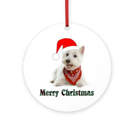 Westie Merry Christmas Ornament (Round)