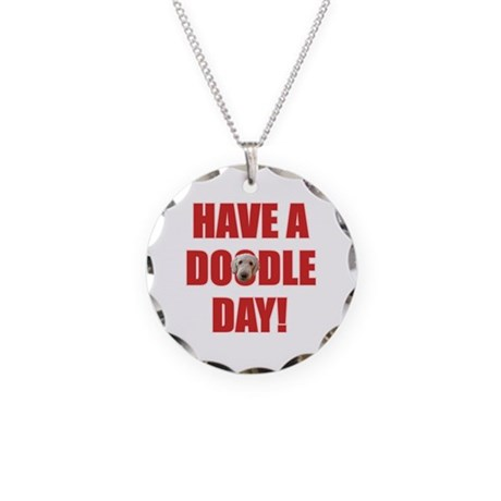 Doodle Day Goldendoodle Necklace Circle Charm