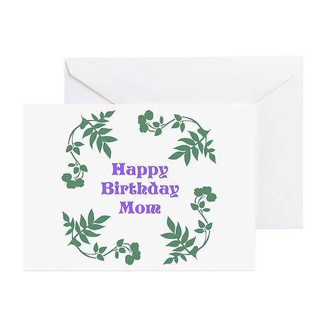 Mom Birthday, Purple, Green. Greeting Cards (Pk of
