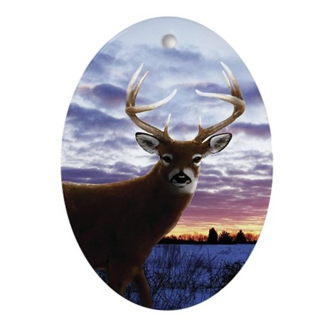 Whitetail Sunrise Ornament (Oval)