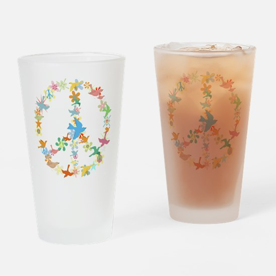 Abstract Art Peace Sign Drinking Glass
