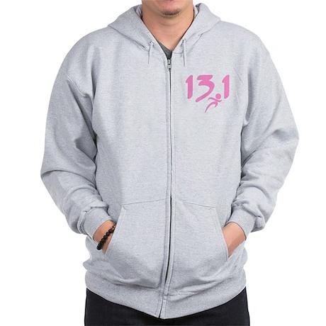 Pink 13.1 half-marathon Zip Hoodie