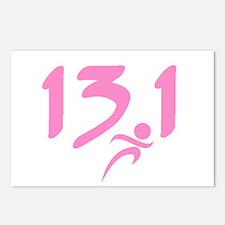 Pink 13.1 half-marathon Postcards (Package of 8)