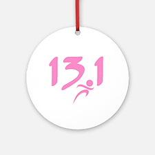 Pink 13.1 half-marathon Ornament (Round)