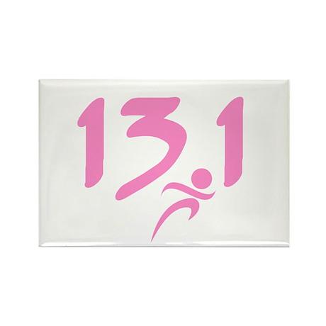 Pink 13.1 half-marathon Rectangle Magnet (100 pack
