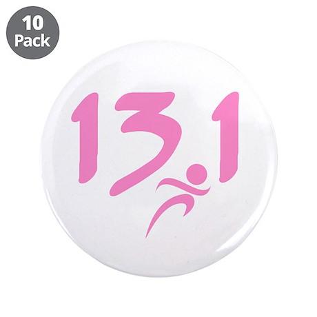 """Pink 13.1 half-marathon 3.5"""" Button (10 pack)"""