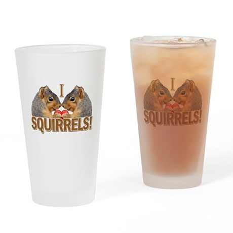 I Heart / Love Squirrels! Drinking Glass