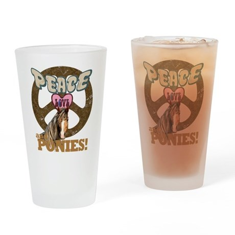 Peace Love and Ponies Drinking Glass