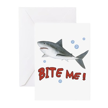 Shark - Bite Me Greeting Cards (Pk of 10)