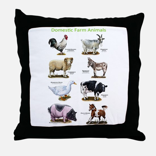 Domestic Farm Animals Throw Pillow