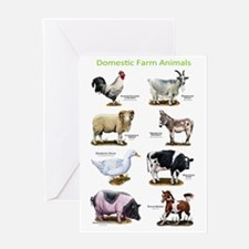 Domestic Farm Animals Greeting Card