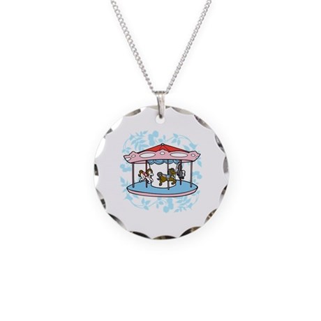 Carousel Pink and Blue Necklace Circle Charm