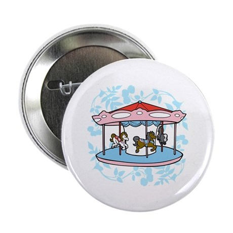 """Carousel Pink and Blue 2.25"""" Button (100 pack)"""