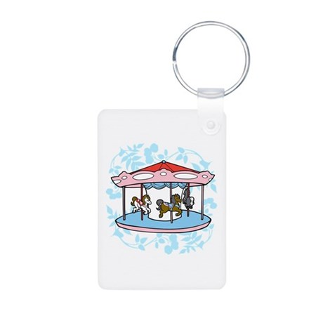 Carousel Pink and Blue Aluminum Photo Keychain