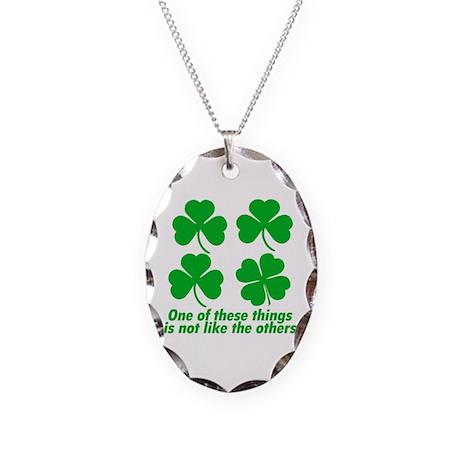 Funny Saint Patricks Day Necklace Oval Charm