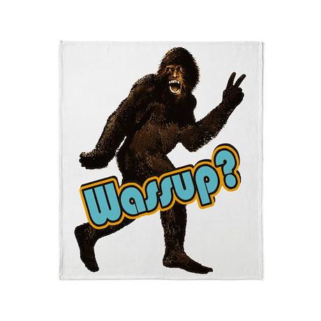 Bigfoot Sasquatch Yetti Wassup Throw Blanket