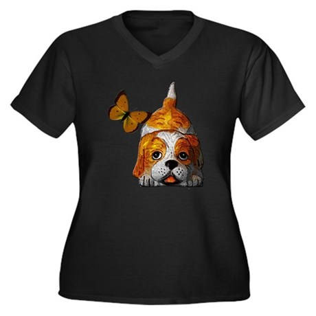 Pup and Butterfly Women's Plus Size V-Neck Dark T-