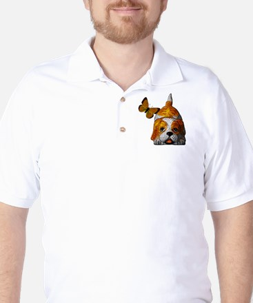 Pup and Butterfly Golf Shirt