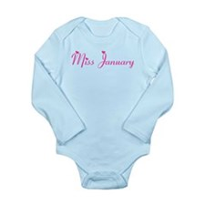 Miss January *PINK* Long Sleeve Infant Bodysuit
