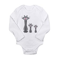 Cute Gray Kitty Cats Long Sleeve Infant Bodysuit