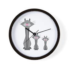 Cute Gray Kitty Cats Wall Clock