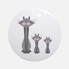Cute Gray Kitty Cats Ornament (Round)