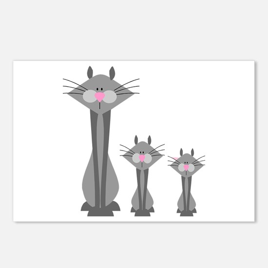Cute Gray Kitty Cats Postcards (Package of 8)