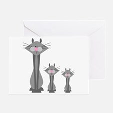 Cute Gray Kitty Cats Greeting Card