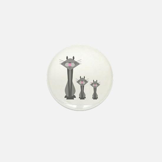 Cute Gray Kitty Cats Mini Button