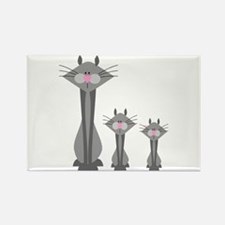 Cute Gray Kitty Cats Rectangle Magnet