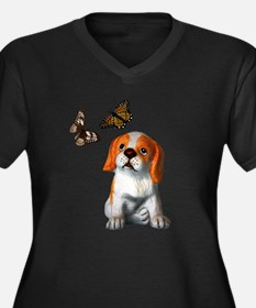Pup and Butterfly's Women's Plus Size V-Neck Dark