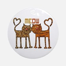 Cute Meow Cats Ornament (Round)