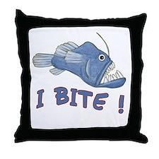 Piranha - I Bite! (blue) Throw Pillow