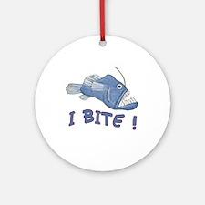 Piranha - I Bite! (blue) Ornament (Round)