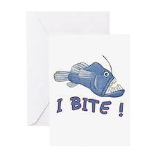 Piranha - I Bite! (blue) Greeting Card