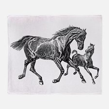 Beautiful Mare and Foal Throw Blanket