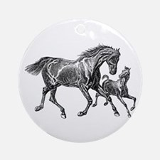 Beautiful Mare and Foal Ornament (Round)