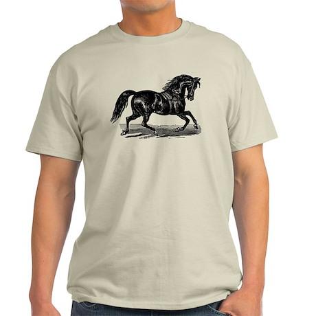 Shiny Black Stallion Horse Light T-Shirt