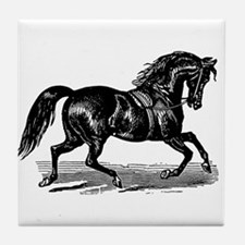 Shiny Black Stallion Horse Tile Coaster