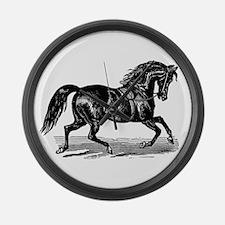 Shiny Black Stallion Horse Large Wall Clock
