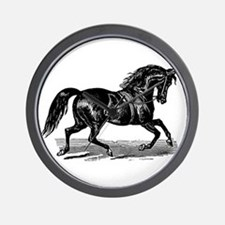 Shiny Black Stallion Horse Wall Clock