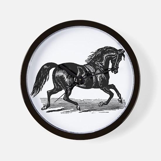 Shiny Black Stallion Horse Wall Clock
